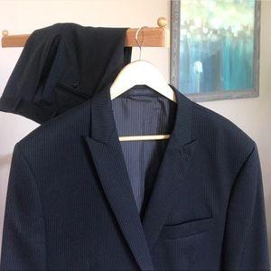 Calvin Klein Slim Peak Lapel Pinstripe Wool Suit
